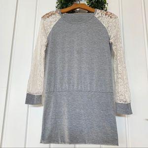 Dresses & Skirts - Lace and Knit Shirt Dress